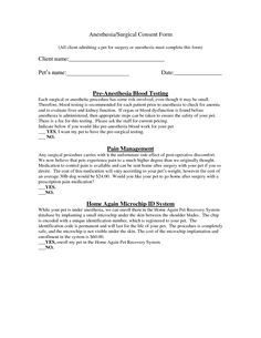 Surgical consent form template consent form pinterest for Veterinary forms templates
