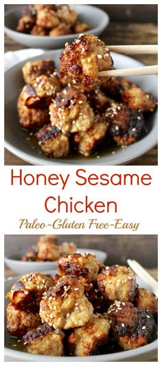 Honey Sesame Chicken (Paleo)- these meatballs are easy, healthy, and packed with flavor! Gluten free and dairy free. Honey Sesame Chicken (Paleo)- these meatballs are easy, healthy, and packed with flavor! Gluten free and dairy free. Dairy Free Recipes, Whole Food Recipes, Diet Recipes, Cooking Recipes, Honey Recipes, Dairy Free Meals, Gluten Free Lunch Ideas, Paleo Chicken Recipes, Paleo Recipes Easy