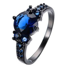 New Dark Sapphire Ring Stainless Steel Black Band Steampunk Punk Jewelry Women in Jewelry & Watches, Fashion Jewelry, Rings Black Wedding Rings, Wedding Rings Vintage, Wedding Rings For Women, Vintage Rings, Rings For Men, Punk Jewelry, Fashion Jewelry, Women Jewelry, Stylish Jewelry