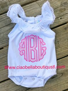 This Appliqued Monogram Baby Romper is so CUTE and COOL for those HOT Summer Days! The Baby Romper is white with a ruffled collar. The collar has an eyelet t Monogram Onesies, Baby Boy Monogram, Embroidery Monogram, Baby Girl Embroidery Ideas, Toddler Outfits, Baby Boy Outfits, Girls Rompers, Baby Rompers, Baby Girl Romper