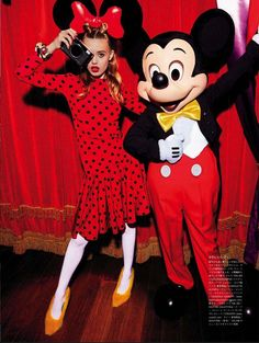 Georgia May Jagger and Chiharu Okunugi play dress-up in the magical world of Disneyland Paris for Vogue Japan's March 2014 issue shot by Giampaolo Sgura. Georgia May Jagger, Red Polka Dot Dress, Polka Dots, Mickey Ears, Mickey Mouse, Site Portfolio, Kms California, Anna Dello Russo, The Blonde Salad