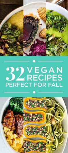 32 Fall Recipes With No Meat Or Dairy. Probably going to end up cooking every single one of these. They all look AMAZING! paleo lunch no meat Vegetarian Recipes Easy, Veggie Recipes, Vegan Vegetarian, Whole Food Recipes, Cooking Recipes, Healthy Recipes, Veggie Meals, Dinner Recipes, Vegan Food