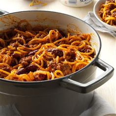 One-Pot Chilighetti Recipe from Taste of Home -- shared by Jennifer Trenhaile of Emerson, Nebraska