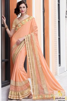 Surprise everyone with your great new traditional look in marvelous peach color chiffon Indian party wear saree for college farewell. Purchase online fancy party saree with COD. #saree, #designersaree more: http://www.pavitraa.in/store/designer-sarees/