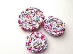Rosettes Fabric appliques Braided flowers Handmade by Itsewbella