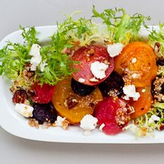 Love beets? Try this recipe. Roasted beets with goat cheese and pecans over frisee with a mustard seed & shallot dressing