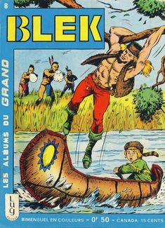 Two observations:  1.) Blek is abandoning his nine-year-old side kick to First Nation Peoples who are canny about their Second Amendment rights and 2.) Blek, in some earlier comic, has acquired Ultra Boy's pants and go-go boots.