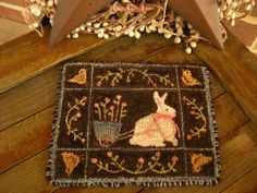 """5.75in x 4.75in. Primitive Punch Needle ~""""Special Delivery""""~Folk Art~ Bunny & Chicks Mini Rug/Mat"""