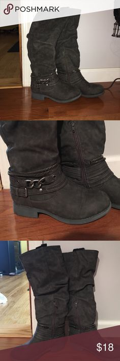 Justfab grey moto boots So cute, chain detail around ankle. Worn once. Bottom of shoe shows barely any wear at all JustFab Shoes Combat & Moto Boots