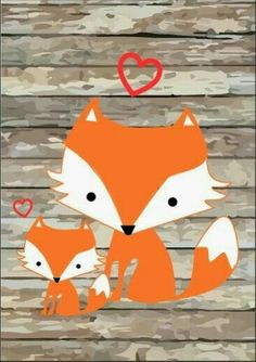 Whimsical mom and baby fox love