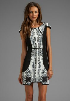 FINDERS KEEPERS You Sent Me Dress in Black/Aztec Floral Print Monochrome - Finders Keepers