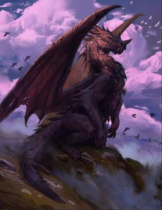 Drachen und Moar, Brock Grossman - I love Animal :) Mythical Creatures Art, Magical Creatures, Fantasy Creatures, Beautiful Dragon, Beautiful Fantasy Art, Mythical Dragons, Legendary Dragons, Dragon Artwork, Dragon Drawings