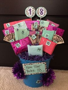 """18th Birthday gift basket. On the back of each numbered gift there is a connection to what she can do now that she is 18....i.e """"you can play the lottery!"""" with scratch offs inside, and """"you can legally change your name (but I hope you keep this one)"""" with a monogrammed gift inside (I gave her jewelry with her initials on it). She loved it!!!!"""