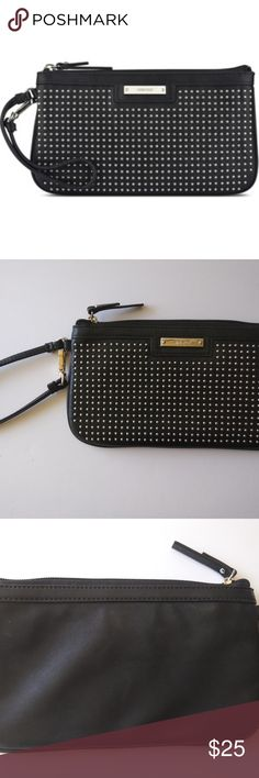"""Nine West Pretty Little Things Wristlet Black NEW. Top zip, faux leather, wrist strap, 9.625"""" x .5"""" x 5.25"""". Sold out already at the store. NINE WEST Bags Clutches & Wristlets"""