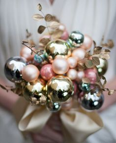 Wedding DIY | Holiday bulb ornament bouquet. Repinned from Vital Outburst clothing vitaloutburst.com