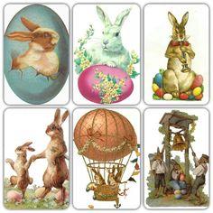 Vintage Easter bunnies diecuts