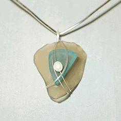 Matching Taupe Sea Glass Pendant