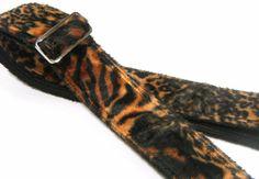 """Dark Tiger Brown Orange Faux Fur 2"""" Metal Hardware Guitar Straps by Pailin #PailinStraps"""