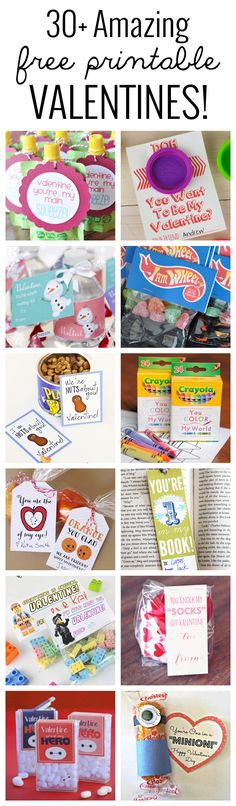 30+ free printable Valentine ideas! No need to buy an ugly store bought Valentine, when you can print these beauties strait from home!