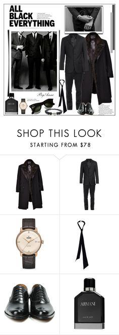 """Black is black"" by anne-977 ❤ liked on Polyvore featuring Browns, Rado, Yves Saint Laurent, John Fluevog, Giorgio Armani, men's fashion, menswear, allblack and polyvorecontest"