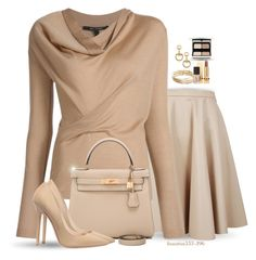 """""""Nudes"""" by houston555-396 ❤ liked on Polyvore featuring Giamba, Hermès, Gucci, Kate Spade, Yves Saint Laurent, Kevyn Aucoin, NARS Cosmetics and Jimmy Choo"""