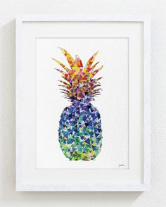 Pineapple Art Watercolor Painting - 8x10 Archival Print - Colorful Triangles Geometric Art - Silhouette Art Wall Decor, Kitchen Decor on Etsy, $22.58 AUD