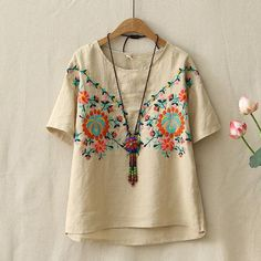 Women Half Sleeve Embroidered Cotton T-Shirts Hand Embroidery Dress, Embroidery On Clothes, Embroidery Fashion, Embroidered Shorts, Embroidered Clothes, Boho Fashion, Fashion Dresses, Estilo Hippie, Do It Yourself Fashion