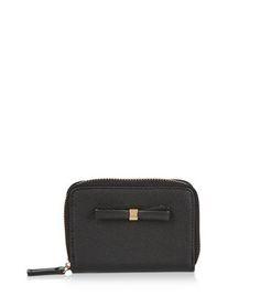 Black Bow Mini Zip Around Card Holder