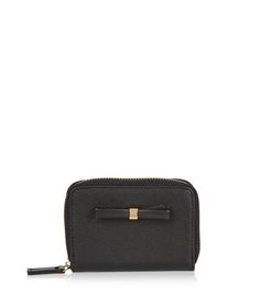 Black Bow Mini Zip Around Card Holder