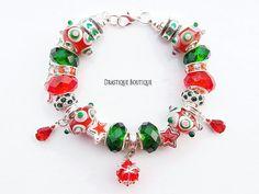 Christmas gift red green charms bracelet, Xmas european bracelet, full beaded, LIMITED edition, OOAK