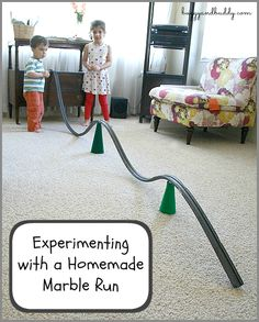 Science for Kids: Exploring a Homemade Marble Run (VERY inexpensive and made with a surprising material!)~ Buggy and Buddy