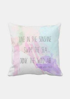 Pillow Cover Beach Decor Emerson Quote Pastel