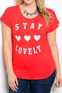 """stay lovely"" plus size graphic tee red #plussizetops #plussizetee #plussizefashion"