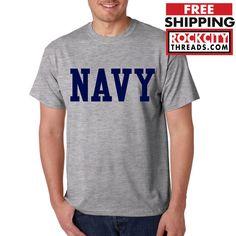 NAVY BLOCK T-SHIRT GRAY Military Shirt Blend Seal US U.S.NAVY USNAVY USA Tshirt #RockCityThreads #GraphicTee