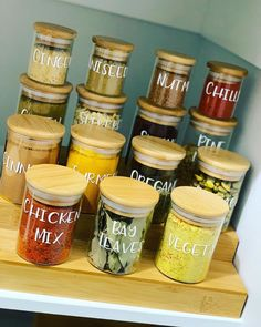 """Boss Labels on Instagram: """"Hands down the best edition I've added to my pantry so far! Completely air tight,  Stackable And absolutely stunning these spice jars are…"""" Kitchen Organisation, Spice Jars, Absolutely Stunning, Boss, Spices, Hands, Good Things, Instagram, Kitchen Organization"""
