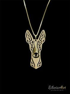 Ibizan Hound  gold vermeil 18k gold plated by SiberianArtJewelry, $120.00
