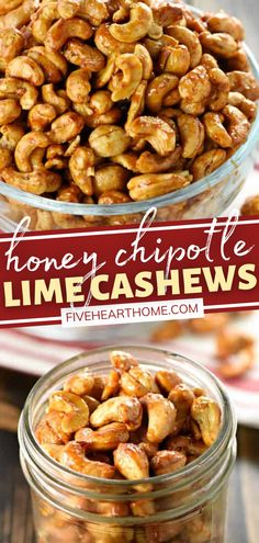 Prepare to be addicted to these Honey Chipotle Lime Cashews! It couldn't be easier to throw together a batch of this recipe. Roasted to perfection with the perfect balance of sweet, spicy, and salty, they make a fantastic holiday gift or a tasty Christmas party snack! Low Fat Snacks, Easy Snacks, Yummy Snacks, Healthy Snacks, Easy Delicious Recipes, Simple Recipes, Delicious Food, Tasty, Nut Recipes