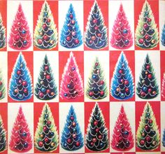 Color Christmas Trees Gift Wrap