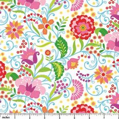Floral Whimsy Fabric NC Delicate Vine Flowers Tendrils Leaves Pink Red Blue on White