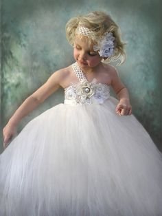 Flower Girl Dress Ivory Tulle Wedding Dress for by Jillybeantutus, $85.00