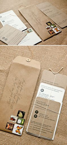 The rounded corners add a soft element to this Kraft paper suite.