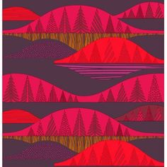 Sanna Annukka's Kultakerro print is reminiscent of the rolling Kultakerro hills in Finland. With towering trees tucked along the peaks and valleys of this rolling print, a great wall hanging or tablecloth can be made. The Marimekko Kultakero Red/Plum Fabric bursts in bold hues of deep plum, dark red and a subtle golden yellow all printed on 100% machine washable cotton.