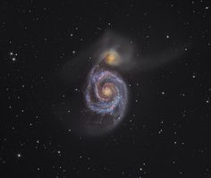 """The Whirlpool Galaxy (M51). Winner of the Astronomy Photographer of the Year 2012 and the Deep Space category. Besides M51 there is also a small companion galaxy with which it's interacting. (Image credit: Martin Pugh) Mona Evans, """"Astronomy Photographer of the Year 2012"""" http://www.bellaonline.com/articles/art178104.asp"""