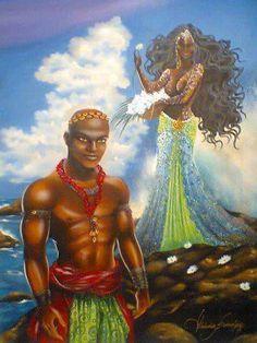 Ogun/Ogum, Orisha of iron, and his mother Yemoja/Iemanjá. By Claudia Krindges (Brazil). African American Art, African Art, Yemaya Orisha, Yoruba Orishas, African Mythology, African Tattoo, Yoruba People, Black Art Pictures, Afro Art