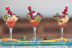 Stylish way to serve a fruit appetizer or dessert for a wedding.