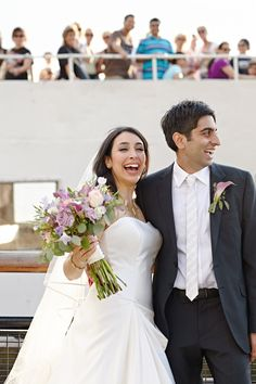 Fabulous shot from Dana & Rahul's Ellis Island #wedding! The couple arrives for their celebration!