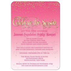 "​Best pink and white falling gold glitter confetti ""snow"" holiday or Christmas party invitations with vintage gold ""Celebrate the Season"" typography. Christmas Party Invitations, Fun Wedding Invitations, Birthday Invitations, Glitter Confetti, Gold Glitter, Merry Christmas, Snow Holidays, Silvester Party, Good Cheer"