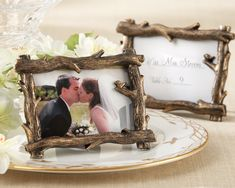 """in love with these for both our favors and our place cards. i think we'll do the names of everybody and then in smaller print below say like """"please take home these lovely frames as our thank you for coming today, our photographer will be taking pictures of everyone per our request, one set we'll be keeping for our wedding album, the other we'll send to you with our thank you notes if you'd like to put them in the frames."""