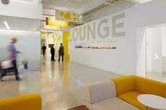Office  Workspace: White Gloss Office Lounge Interior Design Ideas With Yellow Details At Nokia Office: Inspiring Modern Offices Design in Silicon Valley