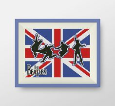 The Beatles Cross Stitch Pattern- PDF counted cross stitch pattern -Flag of United Kingdom, P032